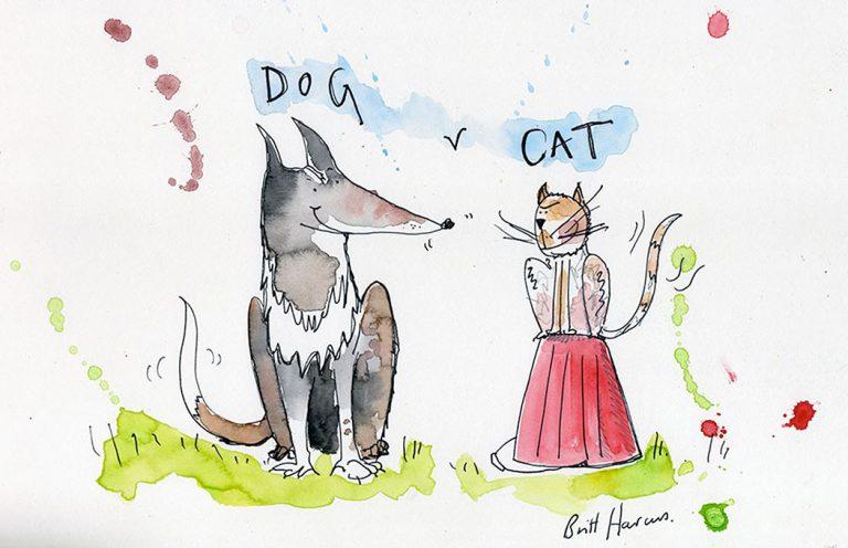 Britt Harcus illustration of dog and cat