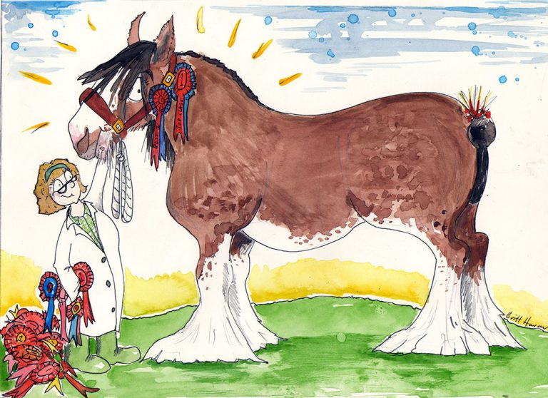 Britt Harcus illustration of horse with rosettes